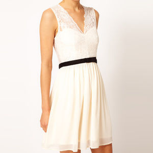 ASOS Lace White Dress Skater 50s Style Sweetheart